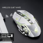 Rechargeable Wireless Silent LED Gaming Mouse USB Optical Mouse for PC Computer Peripherals white