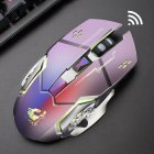 Rechargeable Wireless Silent LED Gaming Mouse USB Optical Mouse for PC Computer Peripherals Metal gray silent version