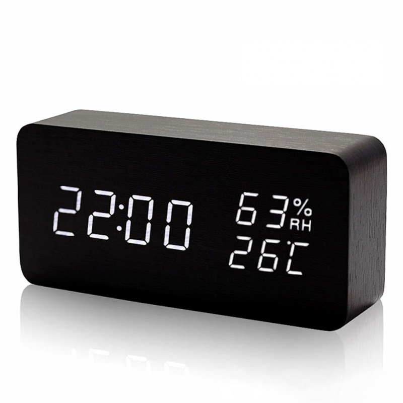 Rectangle Wooden LED Alarm Sound Control Digital Clock Calendar Thermometer black