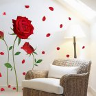 Red Rose Pattern Wall Decal Mural Removable Flowers Sticker Art for Valentine's Day DIY Home Decor