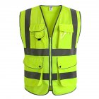 Reflective Vest Multi-pocket Reflective Suit Traffic Safety Riding Vest Suit Fluorescent yellow (S )