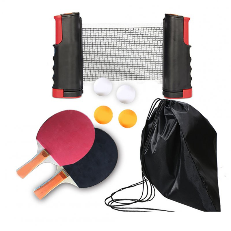 Regail Table Tennis Racket Set Portable Table Tennis Racket Telescopic Rack Set 4 Table Tennis PT-260 red and black grid set