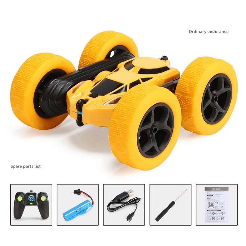 Remote Control Stunt Car Four Wheel Drive Double Side Crawling Deformation Rollover Car Children Charging Toy yellow