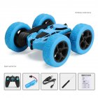 Remote Control Stunt Car Four Wheel Drive Double Side Crawling Deformation Rollover Car Children Charging Toy blue