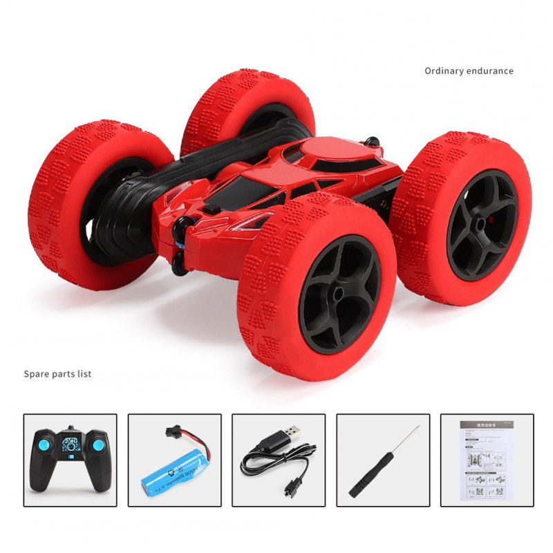 Remote Control Stunt Car Four Wheel Drive Double Side Crawling Deformation Rollover Car Children Charging Toy red