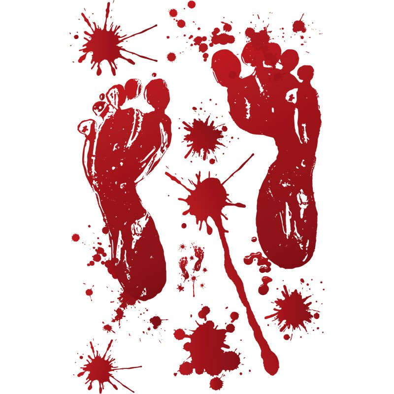 Removable Halloween Bloody Hand Print/Footprint Pattern Wall Stickers Party Prop Decor A: blood color footprints