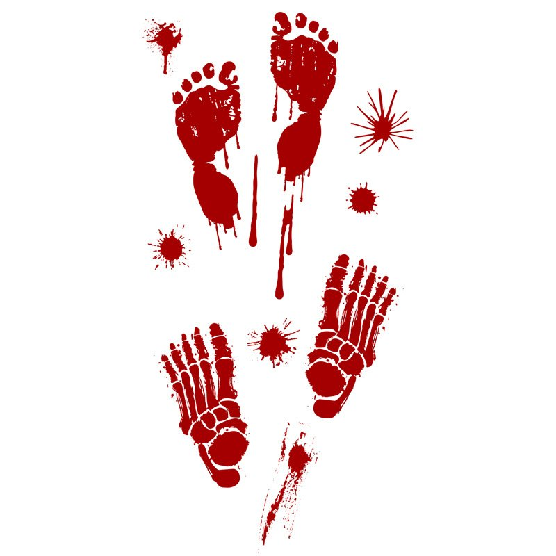 Removable Halloween Bloody Hand Print/Footprint Pattern Wall Stickers Party Prop Decor D: blood color foot print