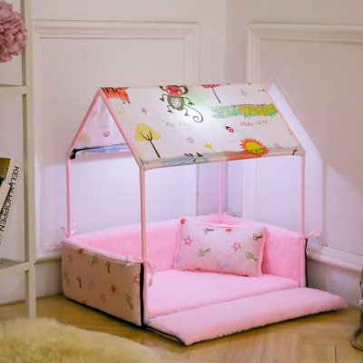 Removable House Shape Pet Dog Assembly Nest for Autumn Winter Sleeping Pink_63X43X63