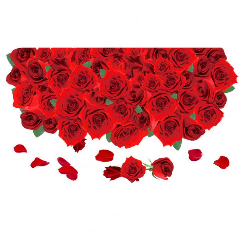 Removable Romantic 3D Roses Pattern Sticker for Bathroom Living Room Wall Floor Decor 60x90CM