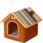 Removable Washable House Shape Pet Nest for Dogs Cats Puppy Sleeping brown_S