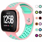 Replacement Band Sport Breathable Silicon Wristband Watch Strap for Fitbit Versa Pink with water duck green