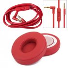 Replacement Ear Pads Cushion+ Audio Cable Cord for Beats by Dr Dre Solo 2 Wired Earphone red