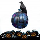 Resin Hollow Out Crow Jack-o-lantern Decoration for Halloween Spirit Festival Raven Black Pumpkin Light