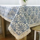 Retro Blue and White Porcelain Tablecloth with Lace Cotton Linen Table Cover for Dinning Home Decor Blue and white porcelain_90*90
