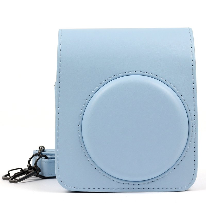 Retro Leather Camera Bag with Strap Soft Shoulder Bag for Fuji Polaroid Instax Mini70  Light blue