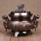 Retro Style Alloy Incense Burner Double Dragon Hollow Cover Censer Cone Holder Home Decoration Copper color
