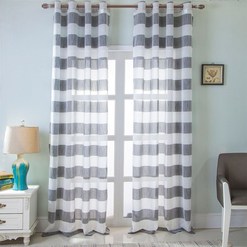 Retro Style Striped Printing Tulle Curtain for Living Room Bedroom Window Decor Punching Style gray_W 107cm* H 213cm