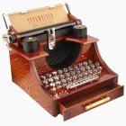 Retro Typewriter Shape Clockwork Spring Music Box Toy Desk Decor for Home Office Random music tracks