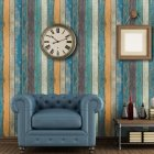 Retro Wood Stripe Pattern Self Adhesive Wallpaper for Living Room Bedroom Background Wall Sticker 45x100cm