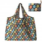 Reusable Foldable Shopping Bags Large Size Tote Bag with Handle Round leaves 138_XL