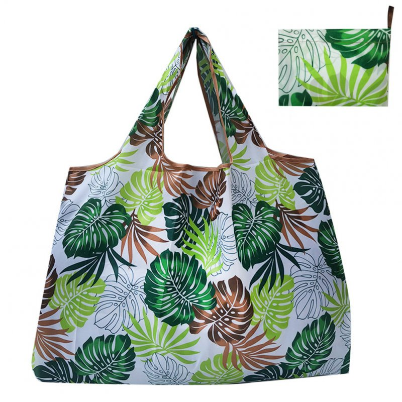 Reusable Foldable Shopping Bags Large Size Tote Bag with Handle Leaves 099_XL