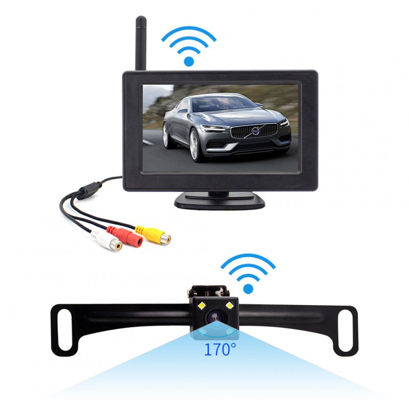 Reversing Camera Rear View Camera 2.4g Wireless Astern Imaging System License Plate Frame Camera black