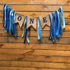 Ribbon One First Birthday Flag Baby Girl Boy Bunting Baby Shower Party Decorate Nursery Garland
