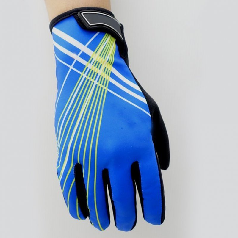 Riding Gloves Antumn Winter Mountain Bike Gloves Touch Screen Bike Gloves Blue yellow line_L