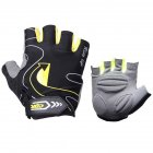 Riding Gloves Silicone Half-finger Gloves Moisture and Breathable Gloves Black yellow_M