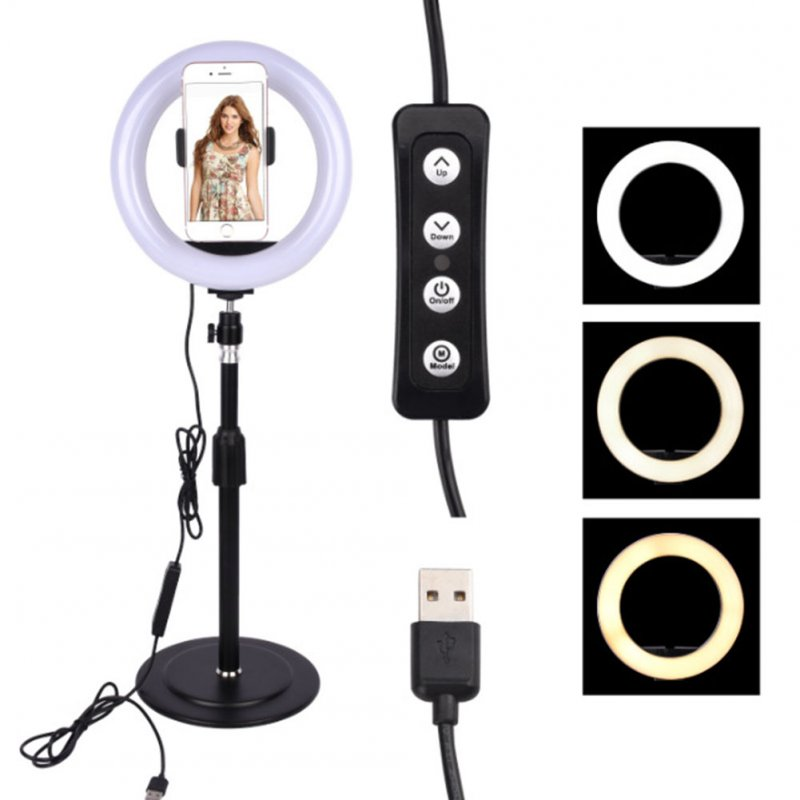 Ring Light Dimmable Multi-function Led Light for Live Streaming with Mobile Phone Beauty Selfie Fill Light Black
