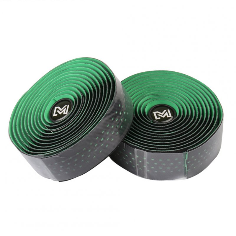 Road Bike Handlebar Tape Mountain Bike Straps Non-slip Breathable Sweat-absorbent PU Leather Strap  green_Free size