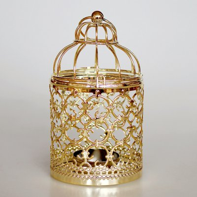 Romantic Birdcage Candlestick Metal Wedding Candle Centerpieces Tables Iron Candle Holder A # gold_8*8*14cm