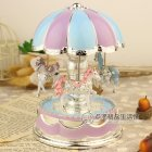 Romantic Dome Carousel Music Box for Room Decoration Blue and purple 10 5 10 5 15 5 cm