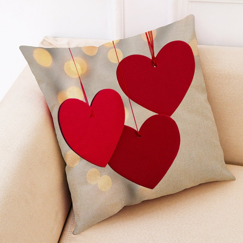 Romantic Heart Shaped Pattern Printing Pillow Cover for Home Sofa Car Supplies