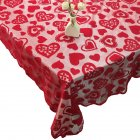 Romantic Red Lace Tablecloth with Flowers Decor Christmas Room Wedding Party Decoration  red_152x213cm