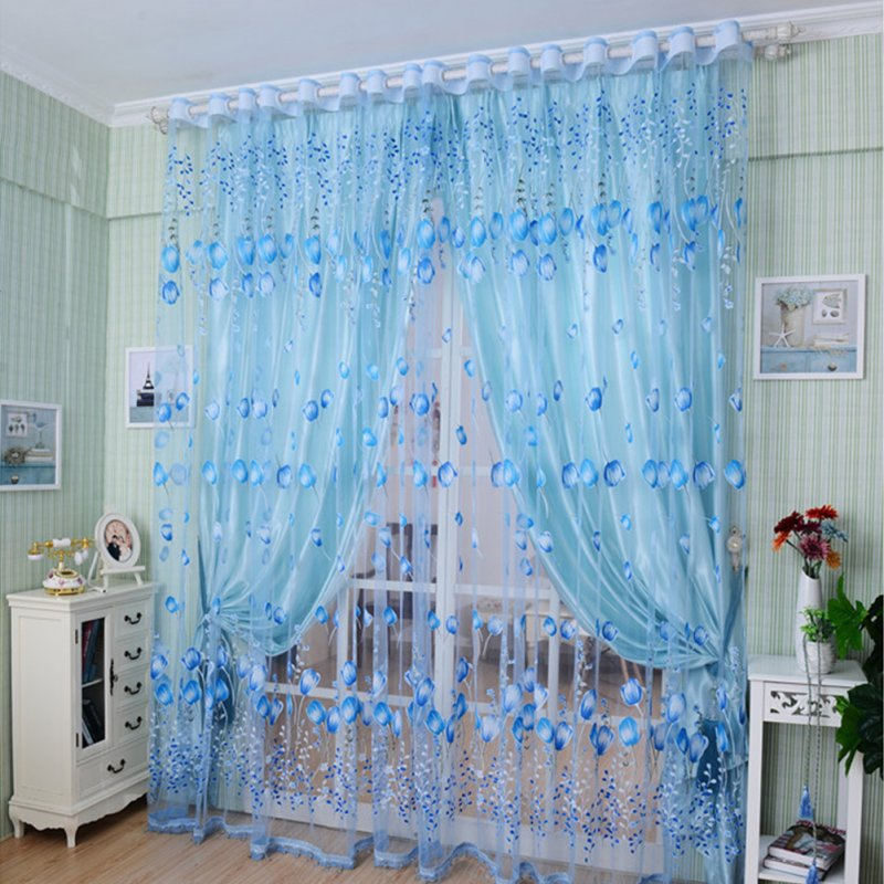 Romantic Tulips Window Voile Curtain Creative Floral Translucent Tulle Door Drape - 3 Colors for Choice Blue_1x2m
