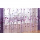 Romantic Tulips Window Voile Curtain Creative Floral Translucent Tulle Door Drape - 3 Colors for Choice purple_1x2m