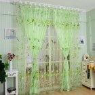 Romantic Tulips Window Voile Curtain Creative Floral Translucent Tulle Door Drape - 3 Colors for Choice Green_1x2m