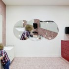 Round Combination Mirror Wall Sticker DIY Decorative Living Room Handwashing Wallpaper Sticker Silver