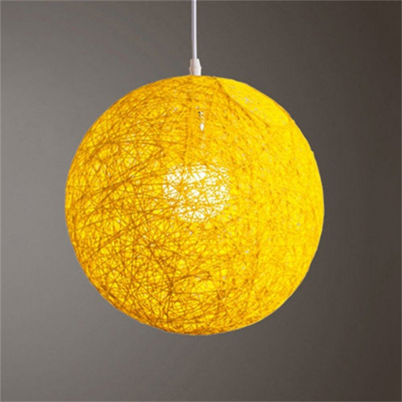 Round Concise Hand-woven Rattan Vine Ball Pendant Lampshade Light Lamp Shades Light Accessories(15cm Diameter) Yellow