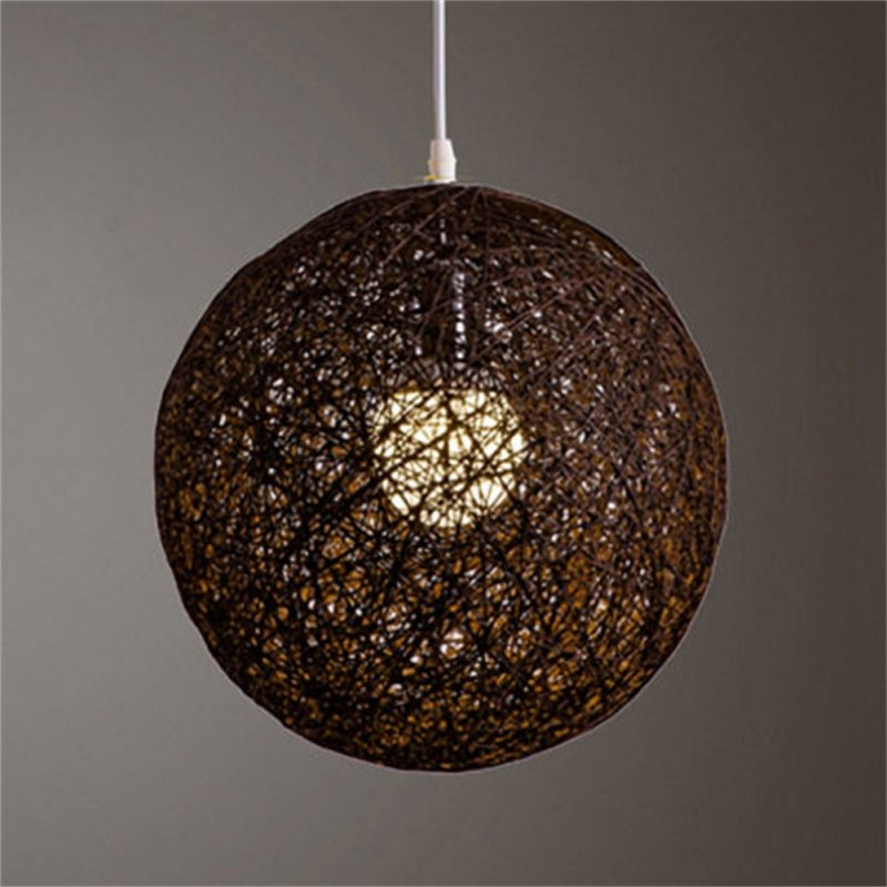 Round Concise Hand-woven Rattan Vine Ball Pendant Lampshade Light Lamp Shades Light Accessories(15cm Diameter) Coffee
