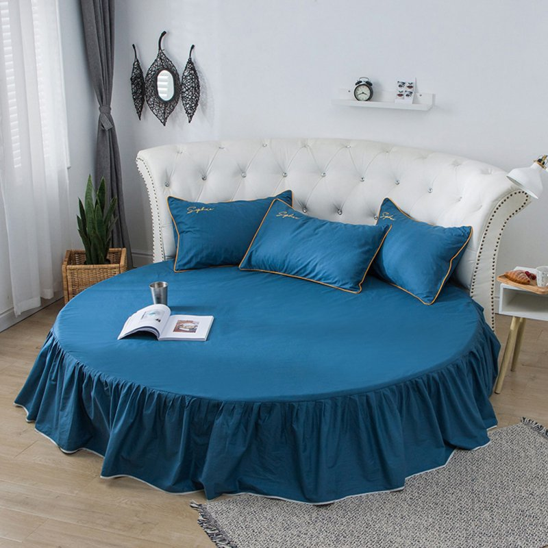 Round Cotton Bed Skirt Bedspread for Home Hotel Sleeping Decoration Lake Blue