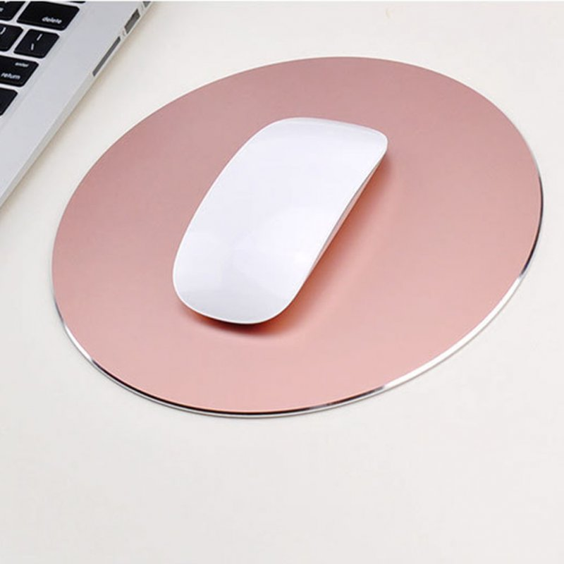 Round Mouse Mat Aluminum Anti Slip Rubber Bottom Gaming Mouse Pad Computer Accessory Rose gold_20CM