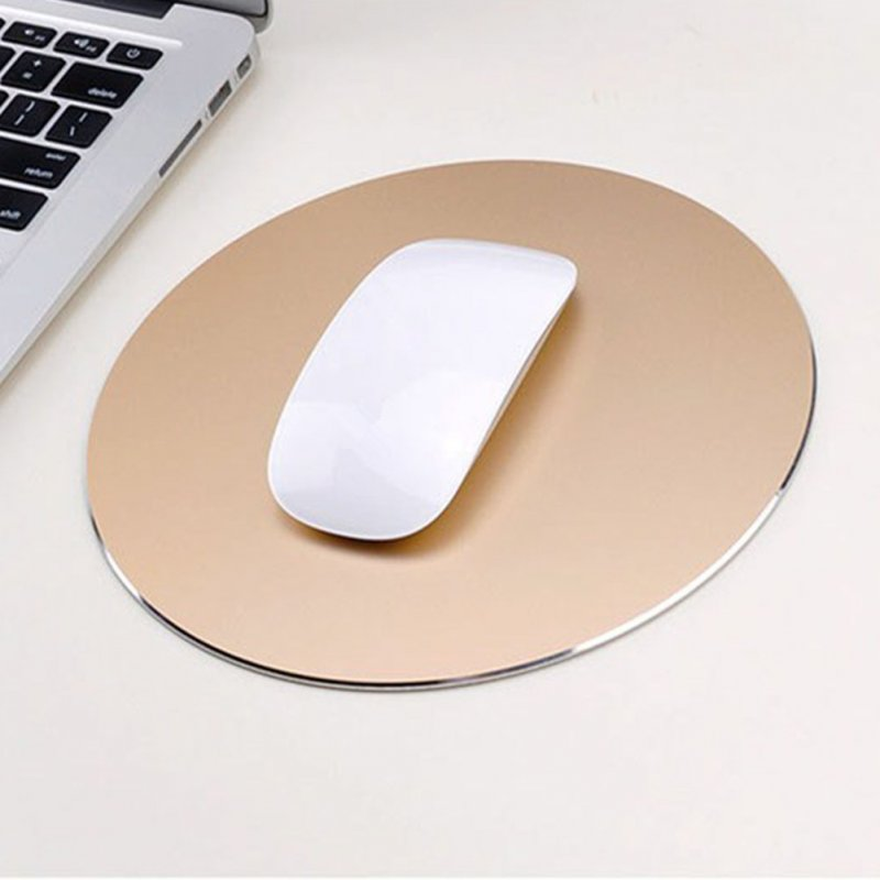 Round Mouse Mat Aluminum Anti Slip Rubber Bottom Gaming Mouse Pad Computer Accessory Gold_20CM