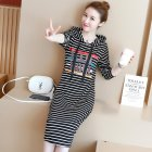 Round Neck Loose Knee Length Dress Hooded Dress with Drawstring Hat  striped_M