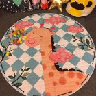 Round Shape Cartoon Pattern Toy Storage Bag Baby Kids Playing Mat