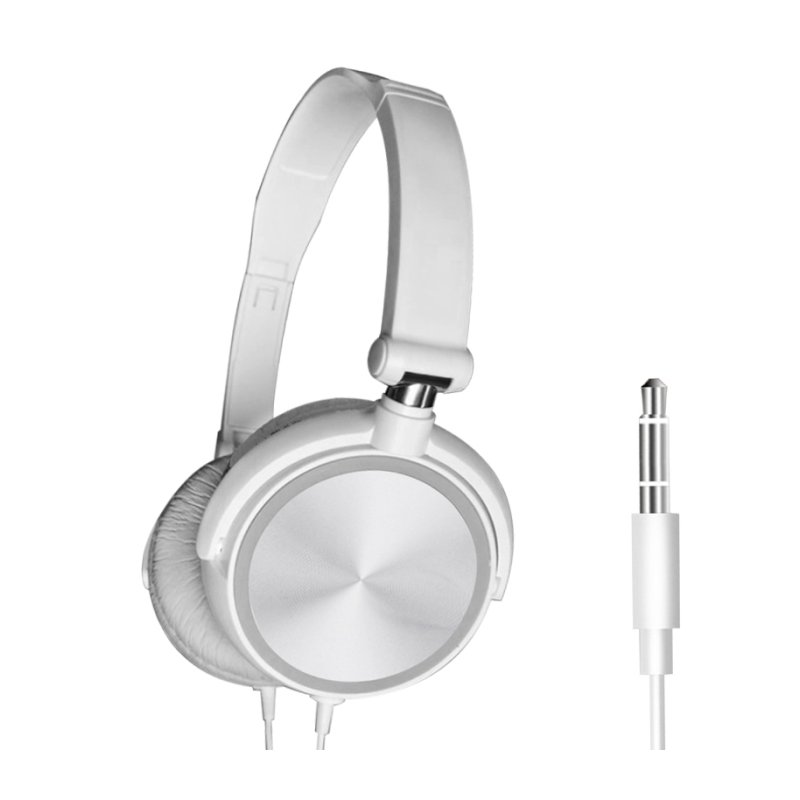 S1 Wired Computer Headset with Microphone Heavy Bass Game Karaoke Voice Headset White without wheat box