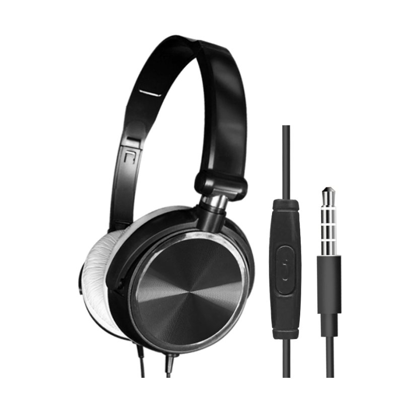 S1 Wired Computer Headset with Microphone Heavy Bass Game Karaoke Voice Headset Black with wheat box