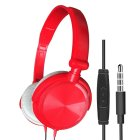 S1 Wired Computer Headset with Microphone Heavy Bass Game Karaoke Voice Headset Red with wheat box