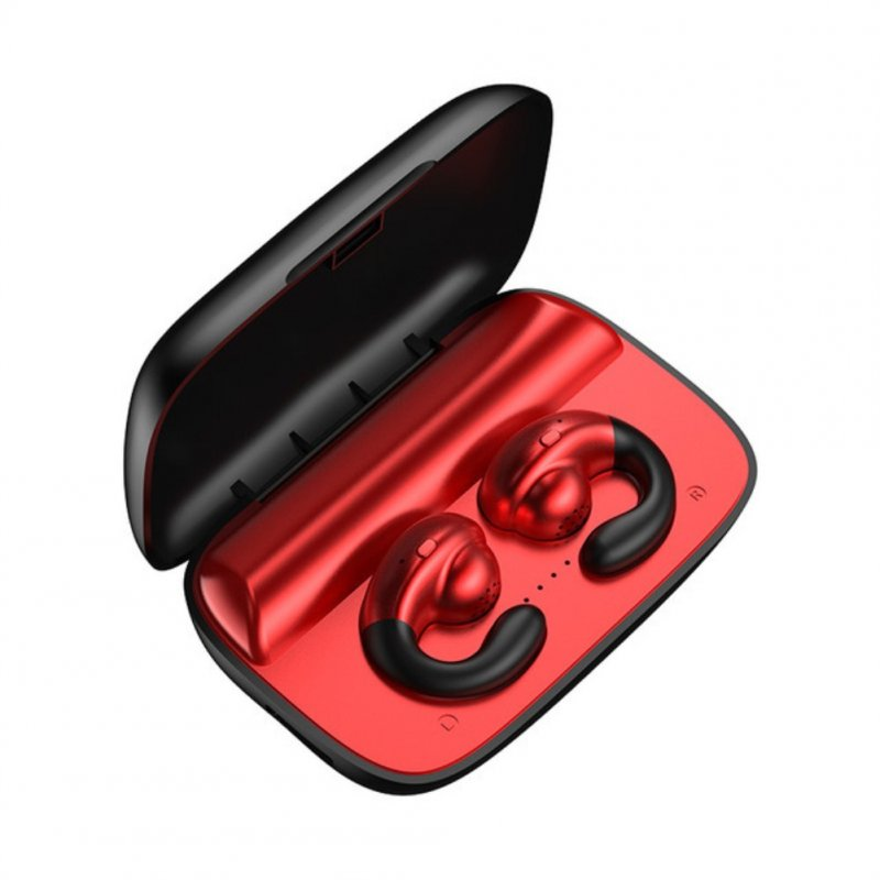S19 TWS Bluetooth 5.0 Earphone Bass Surround Earbuds Bone Conduction red